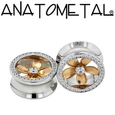 Anatometal Plumeria Eyelets are machined from a solid piece of material. The flower insert can be made of 18k solid gold or Argentium silver. All of our settings are guaranteed for the life of the jewelry.