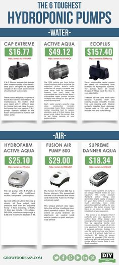 Growfoodeasy.com has identified and tested the 6 Toughest Hydroponic pumps available. This little handy infographic gives you the pump model, price, and purchase point. Know how big your hydroponic gardening air and water pumps must be for your hydroponic system.