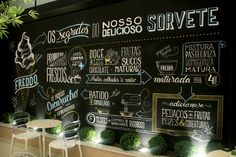 Infographic created and executed with posca to illustrate a wall inside Freddo& ice cream store located in Curitiba, Brasil. Chalkboard Lettering, Chalkboard Designs, Menu Chalkboard, Blackboard Paint, Deco Restaurant, Restaurant Design, Cafe Design, Store Design, Gelato Shop