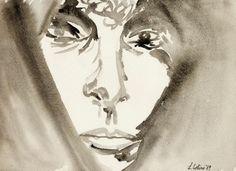 Donna araba, 30x40 cm., chine acquarellate, 1988  http://visionipoetiche.com/