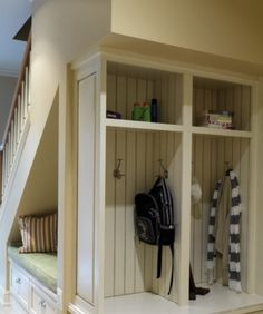 Shelves under stairs I love this idea!