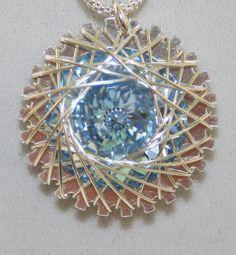 Sterling Silver Spiro (Spiral)  Necklace With 18 mm Light Blue (Light Sapphire) Swarovski Rivoli on Etsy, $50.00