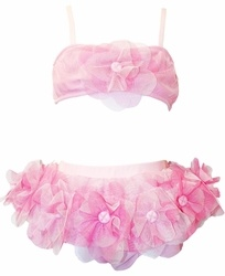 "Ciao Bella ""Sunset Shore"" Sweetest Skirted 2 Piece Pink Bikini Swimsuit with Gorgeous Flower Appliques"