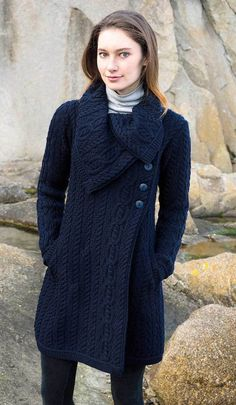 Women's Chunky Collar Aran Coat - Navy – Aran Sweaters Direct