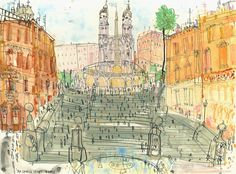 SPANISH STEPS ROME Art Print Italy Signed Limited Edition print, Rome Watercolour Painting, Piazza di Spagna, Clare Caulfield