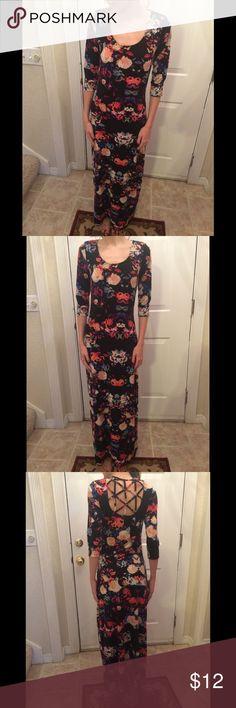 "Xhilaration Floral Print Maxi Dress Cute! Xhilaration Floral Print Black Dress. 3/4 length sleeves. Model is 5'7"". Great condition.  Worn twice. Xhilaration Dresses Maxi"