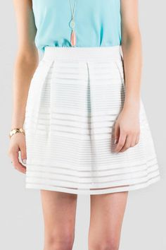 Under $50! Striped bandage skirt. Perfect chic spring and summer outfit.
