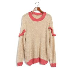 $29.00 nice Ideasuke Women's Beige Long Sleeve Patchwork Pullover sweater