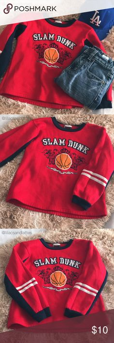 """🏀Boys """"Slam Dunk"""" Sweatshirt {Mad Game} Boys """"Slam Dunk"""" Sweatshirt • Red & Navy Blue • In Good Used Condition; Small hole on left arm pit that can easily be stitched-see 4th & 5th pics • Made from 100% Spun Polyester • Size L (7) 