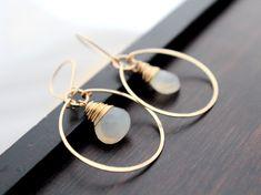 Moonstone Hoop Earrings Gold Gemstone Hoops by SaressaDesigns, $44.00