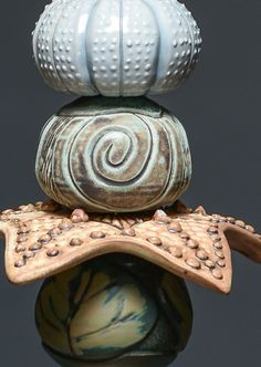 Close-up on McCoy ceramic garden totem