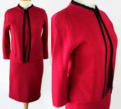 60s Norwin Knits Raspberry 3pc Suit Black Trim Embellishment by PetticoatsPlus on Etsy