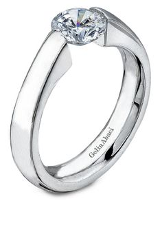Ladies Plain Polished Tension Engagement Ring