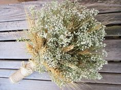 Simple Summer Wheat & Baby's Breath Bridal by SeasonalBounty