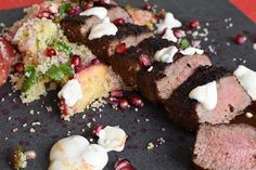 Lamb Backstrap with Couscous Salad - Weber Weber Recipes, Lamb Recipes, Meat Recipes, Charcoal Recipe, Backstrap Recipes, Couscous Salad Recipes, Grilled Peaches, Most Delicious Recipe