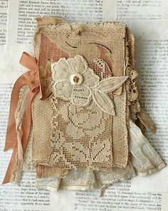 Mixed Media Fabric Collage Book Angels Dreams   eBay