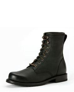 FRYE > Wayde Leather Combat Boot, Black