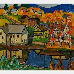 RANDOLPH STANLEY HEWTON, R.C.A. AUTUMNAL LANDSCAPE WITH VILLAGE  oil on canvas Beaver Hall, Inuit Art, Canadian Art, Autumnal, Art Auction, Online Art, Oil On Canvas, Art Decor, Group