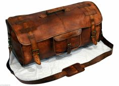 863f0e918259 Details about New Large Men s Leather Vintage Duffel Luggage Weekend Gym  Carry on Travel Bag