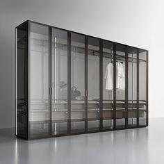 Cover Rimadesio _ storage system _ walk in closet - cabina armadio www.spaziomateriae.com  il basamento e il top sono realizzati sempre in melaminico, disponibile in finitura larice carbone e rovere grigio