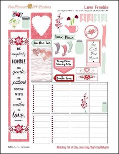 This Love Kit FREEBIE is packed with pink and green romance. Super for February or anytime of year. Great for a Bible journal layout. The freebie includes a margin strip you can use in your Bible or planner.