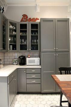 Kitchen Envy -- Grey Cabinets, subway tile, tile floor, white/butcher block counter tops