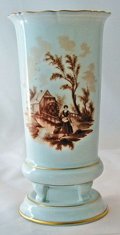 AK Kaiser Mantle Vase Artist Sanssouci Brown Transferware from Antik Avenue on Ruby Lane