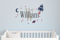 Rocket Name Wall Decal - Baby Nursery Boy Personalized Decal