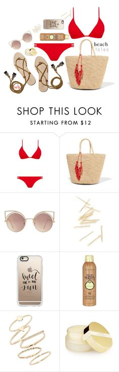 """""""In The Bag: Beach Totes"""" by coombsie24 ❤ liked on Polyvore featuring Melissa Odabash, Sensi Studio, Loeffler Randall, MANGO, Casetify, Sun Bum, BP. and AERIN"""
