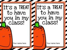 Freebie! Halloween gifts for students. I am always on the lookout for non-candy treats for my students. You can attach anything to these printables: candy, pencils, a glow stick, etc. They are adorable and get bonus points for being editable!