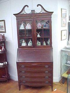 Vintage Winthrop Mahogany Slant Front Secretary Desk #Traditional