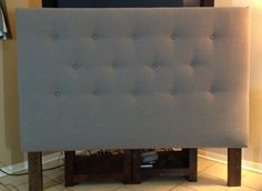 Gray Queen Or Full Size Headboard Upholstered And Button Tufted