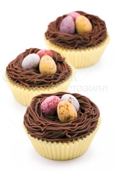 Easter nest cupcakes on white - Royalty Free Stock Photo