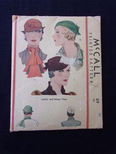 Vintage 1930s McCall #69 Hat Pattern sewing pattern Ladies Misses Hats Sz 22 | eBay
