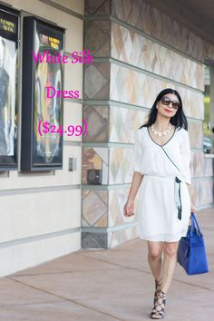 Outfit of the Week: White Silk Dress ($24.99), gladiator sandals, cobalt tote #Marshalls