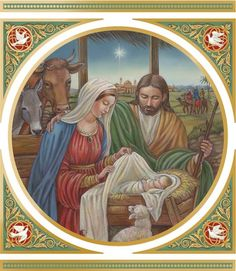 Nativity with Corner Ornaments -- Illustration and design by Irina Y. Lombardo