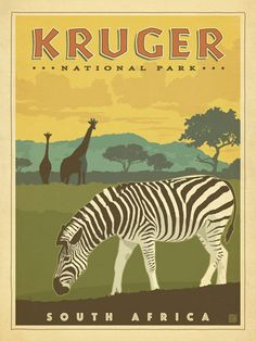 South Africa: Kruger National Park - We were inspired by vintage travel  prints from the Golden Age of Poster Design. So we created our own series of classic prints that celebrate our favorite world-wide destinations. This print features the majestic Kruger National Park Safari Preserve.<br /> <br />
