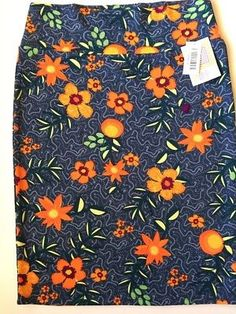 7c05c2f035 Details about LLR Cassie Skirt Women's Large 14-16 Steel Blue With Orange  Flowers Fall