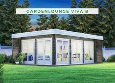 Gartenhaus Flachdach: Unsere Gardenlounge Viva überzeugt mit ihrem gradlinigen und modernen Design, das von dem Massivholz Flachdach unterstrichen wird. Dank der vier bodentiefen Fenster und einer verglasten Doppeltür wird die Gardenlounge ganztägig mit Tageslicht geflutet und so wird eine Wohlfühlatmosphäre im Inneren erzeugt, die Sie ganzjährig genießen können. Jetzt kaufen!  #Gartenhaus #Gardenlounge #Freizeithaus #Flachdach Gazebo, Outdoor Structures, Roof Shapes, Kiosk, Pavilion