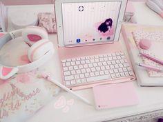So cute 💗 Study Room Decor, Cute Room Decor, Aesthetic Rooms, Pink Aesthetic, Accessoires Ipad, Kawaii Bedroom, Otaku Room, Gaming Room Setup, Game Room Design