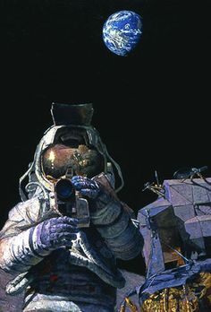 """MOON ROVERS by Alan Bean LIMITED EDITION PRINT Image size: 17 3/4""""w x 26""""h."""