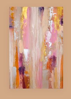 Paintings Original Pink Gold Art Acrylic Abstract Painting