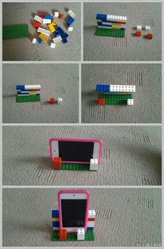 How to make a phone, ipod, ipad or tablet stand out of lego. The bigger your device is the bigger you will need to make the stand. Its works really well and is easy to make.