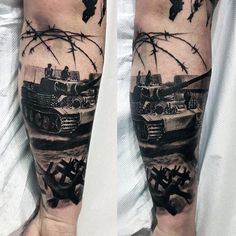 60 Tank Tattoos For Men - Armored Vehicle Ink Ideas - Tattoos - Tattoo-Ideen Military Sleeve Tattoo, Family Sleeve Tattoo, Military Tattoos, Full Sleeve Tattoos, Tattoos For Guys, Cool Tattoos, 3d Tattoos, Awesome Tattoos, Panzer Tattoo