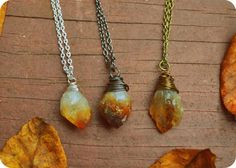 CITRINE PRISM pendant necklace  Wire wrapped by WingostarrJewelry, $17.00
