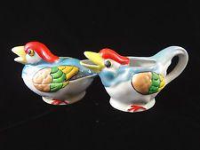 Vintage Lusterware Duck Bird Sugar and Creamer Set Japan