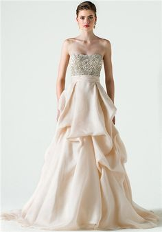 Heavily beaded strapless bodice with cummerbund and pick up skirt of silk organza and silk satin organza; Color sampled: Silk White/Peony