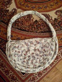 Bag made from from recycled plastic bags