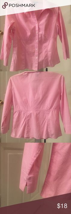 Ann Taylor shirt Light pink, 3/4 sleeves. Slightly tapered waist look. Pre-loved but excellent condition! Ann Taylor Tops