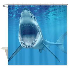 Shark and Mosasaur Shower Curtain Bathroom Waterproof Fabric /& 12hooks